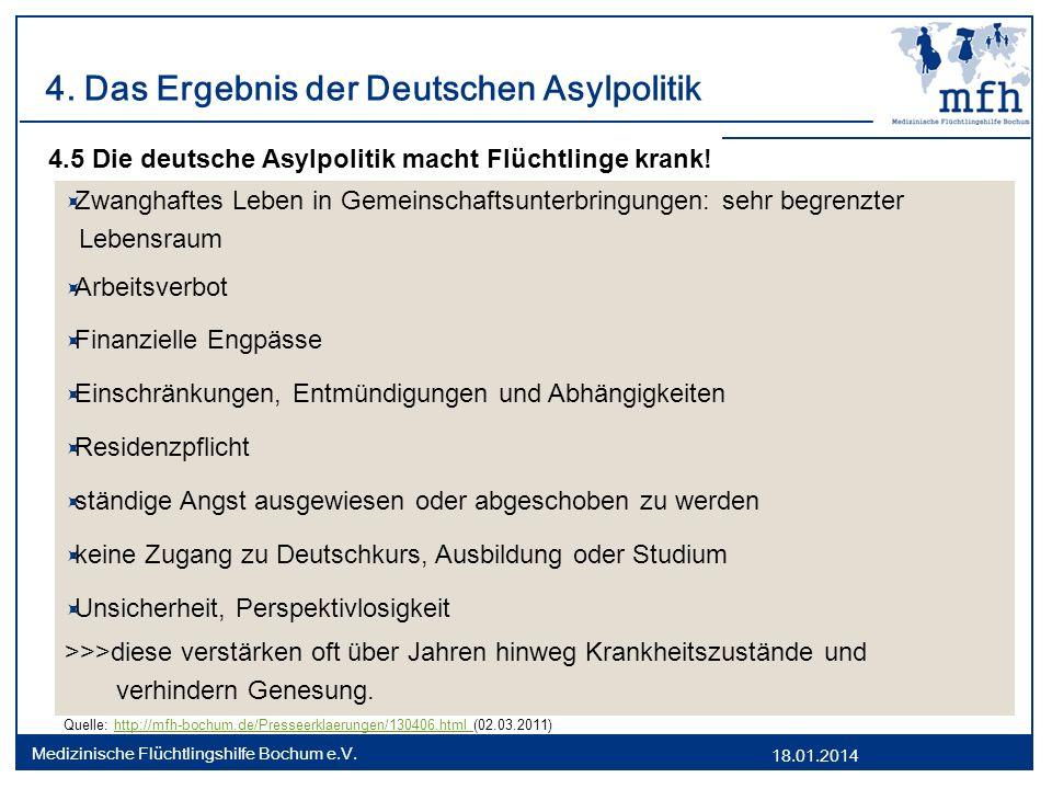 18.01.2014 Medizinische Flüchtlingshilfe Bochum e.V. 4. Das Ergebnis der Deutschen Asylpolitik 4.5 Die deutsche Asylpolitik macht Flüchtlinge krank! Z