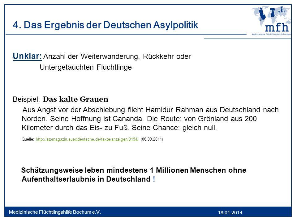 18.01.2014 Medizinische Flüchtlingshilfe Bochum e.V. 4. Das Ergebnis der Deutschen Asylpolitik Unklar: Anzahl der Weiterwanderung, Rückkehr oder Unter