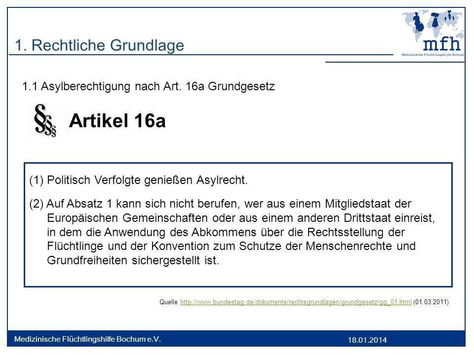 18.01.2014 Medizinische Flüchtlingshilfe Bochum e.V. 1. Rechtliche Grundlage 1.1 Asylberechtigung nach Art. 16a Grundgesetz Artikel 16a Quelle http://