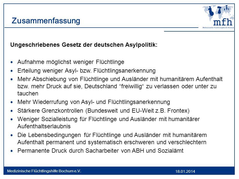 18.01.2014 Medizinische Flüchtlingshilfe Bochum e.V. Zusammenfassung Ungeschriebenes Gesetz der deutschen Asylpolitik: Aufnahme möglichst weniger Flüc