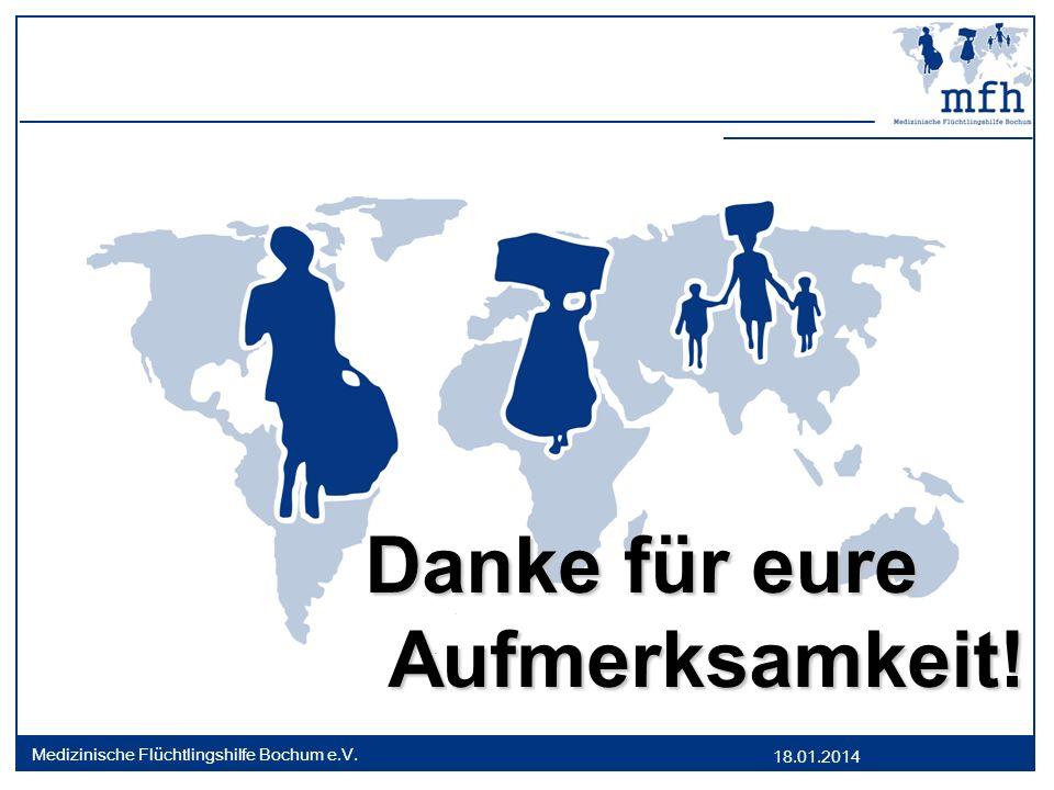 18.01.2014 Medizinische Flüchtlingshilfe Bochum e.V. Danke für eure Danke für eureAufmerksamkeit!