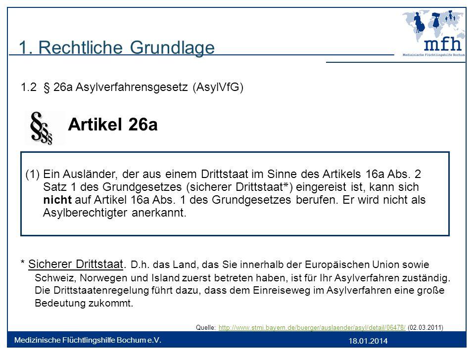 18.01.2014 Medizinische Flüchtlingshilfe Bochum e.V. 1. Rechtliche Grundlage 1.2 § 26a Asylverfahrensgesetz (AsylVfG) Artikel 26a * Sicherer Drittstaa