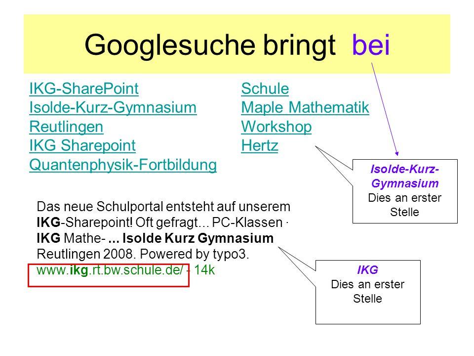 Googlesuche bringt bei IKG-SharePoint Isolde-Kurz-Gymnasium Reutlingen IKG Sharepoint Quantenphysik-Fortbildung Schule Maple Mathematik Workshop Hertz