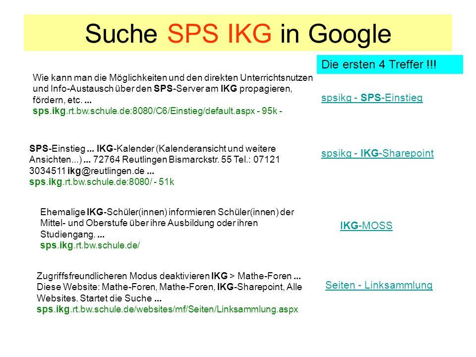 Suche SPS IKG in Google spsikg - SPS-Einstieg Wie kann man die Möglichkeiten und den direkten Unterrichtsnutzen und Info-Austausch über den SPS-Server