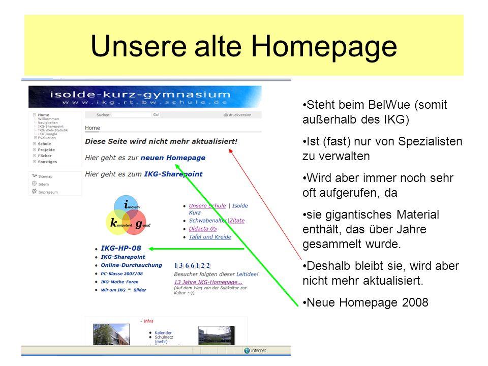 Unsere alte Homepage Steht beim BelWue (somit außerhalb des IKG) Ist (fast) nur von Spezialisten zu verwalten Wird aber immer noch sehr oft aufgerufen