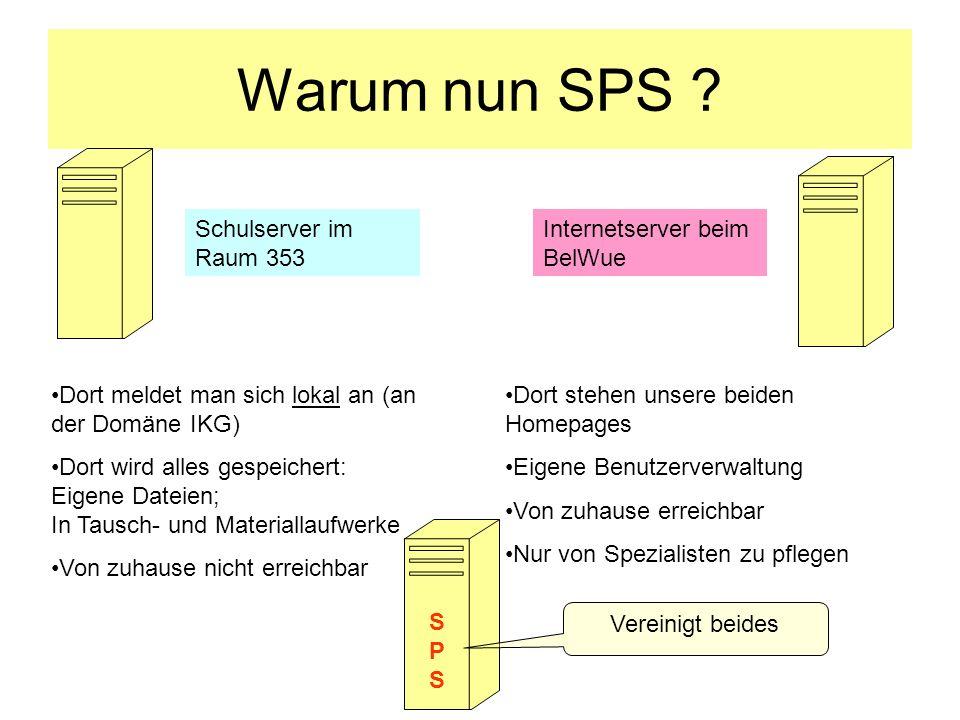 Warum nun SPS ? Dort meldet man sich lokal an (an der Domäne IKG) Dort wird alles gespeichert: Eigene Dateien; In Tausch- und Materiallaufwerke Von zu