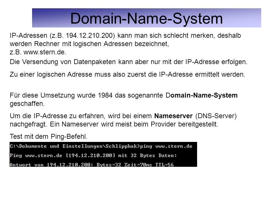 Domain-Name-System IP-Adressen (z.B. 194.12.210.200) kann man sich schlecht merken, deshalb werden Rechner mit logischen Adressen bezeichnet, z.B. www