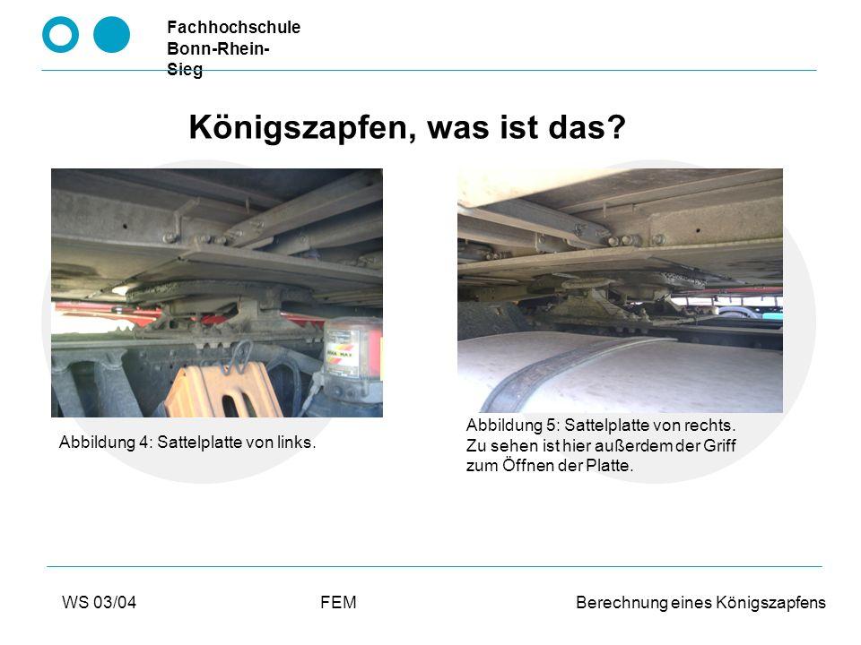 Fachhochschule Bonn-Rhein- Sieg WS 03/04FEM Berechnung eines Königszapfens Welche Abläufe werden simuliert.