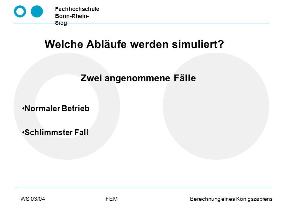 Fachhochschule Bonn-Rhein- Sieg WS 03/04FEM Berechnung eines Königszapfens Durchführung der Berechnung Vernetzung des Bauteils