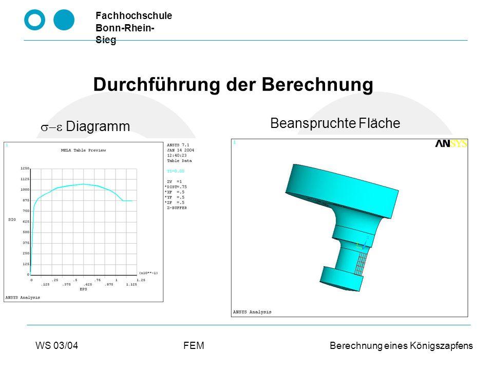 Fachhochschule Bonn-Rhein- Sieg WS 03/04FEM Berechnung eines Königszapfens Ergebnisse für Fall 1: