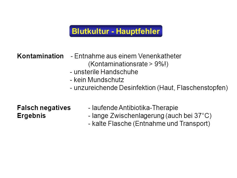 Blutkultur - Hauptfehler Kontamination - Entnahme aus einem Venenkatheter (Kontaminationsrate > 9%!) - unsterile Handschuhe - kein Mundschutz - unzure