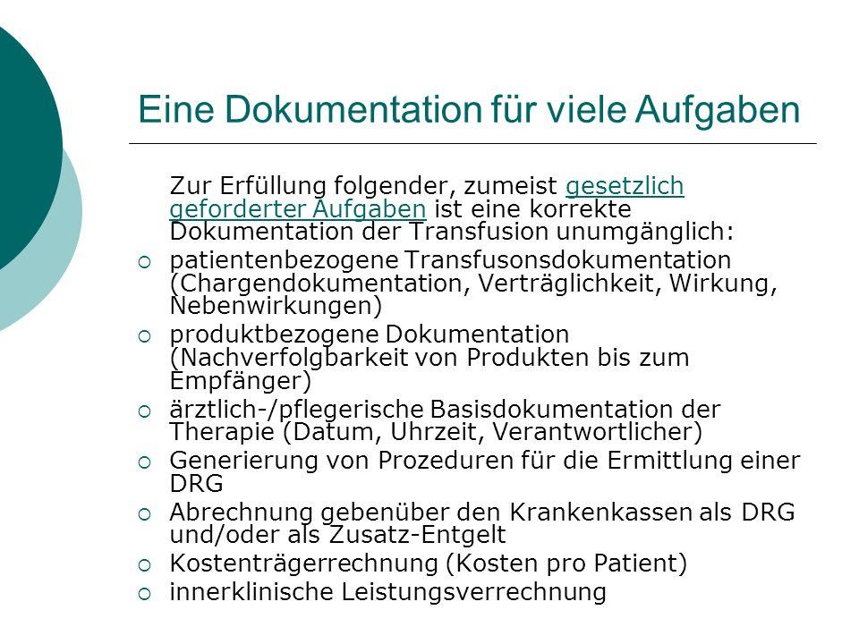 Eine Dokumentation für viele Aufgaben Zur Erfüllung folgender, zumeist gesetzlich geforderter Aufgaben ist eine korrekte Dokumentation der Transfusion