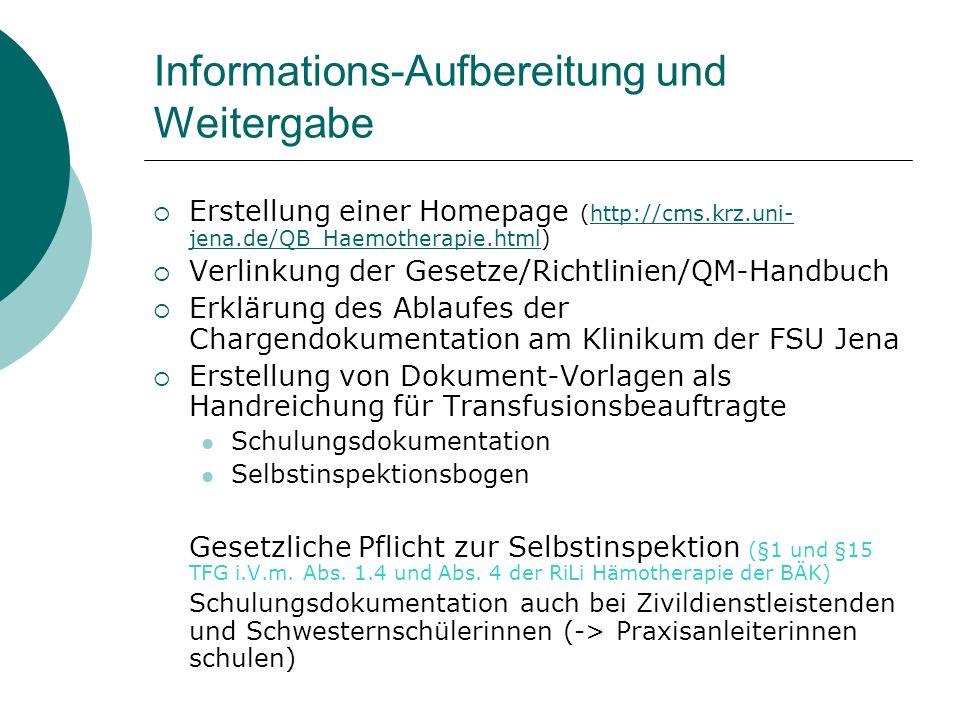 Informations-Aufbereitung und Weitergabe Erstellung einer Homepage (http://cms.krz.uni- jena.de/QB_Haemotherapie.html)http://cms.krz.uni- jena.de/QB_H