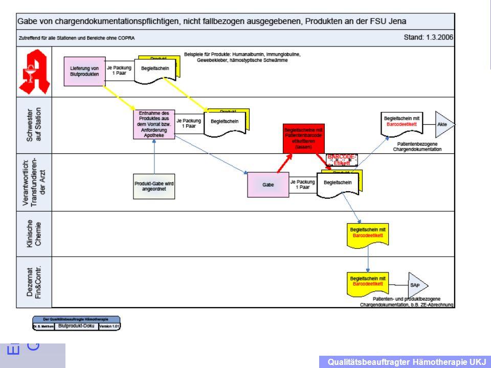 Ersteinweisung der Mitarbeiter in das Qualitätsmanagementhandbuch Blut Dienstanweisung für das Klinikum Qualitätsbeauftragter Hämotherapie UKJ 14/15.3
