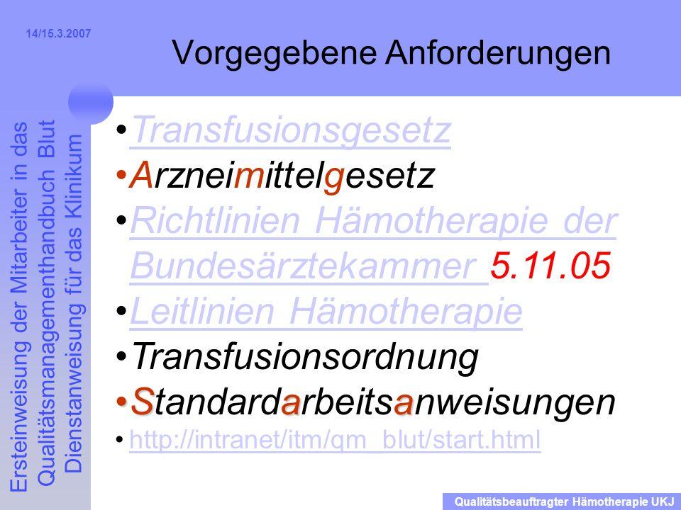 Ersteinweisung der Mitarbeiter in das Qualitätsmanagementhandbuch Blut Dienstanweisung für das Klinikum Qualitätsbeauftragter Hämotherapie UKJ 14/15.3.2007 Gabe 200µm-Filter (weiß) (DIN 58360 TG) außer –Vollbluttransfusion (sehr selten) –Retransfusion von Wundblut (hier ist jedoch bei uns im Cell-Saver ein 40µm-Filter eingebaut) –ANH-Blut-Rückgabe (Autologe Normovoläme Hämodilution) Standzeit des Filters/EK 6 Stunden –Wechsel des Filters, wenn er sich verstopft hat Also b.B.