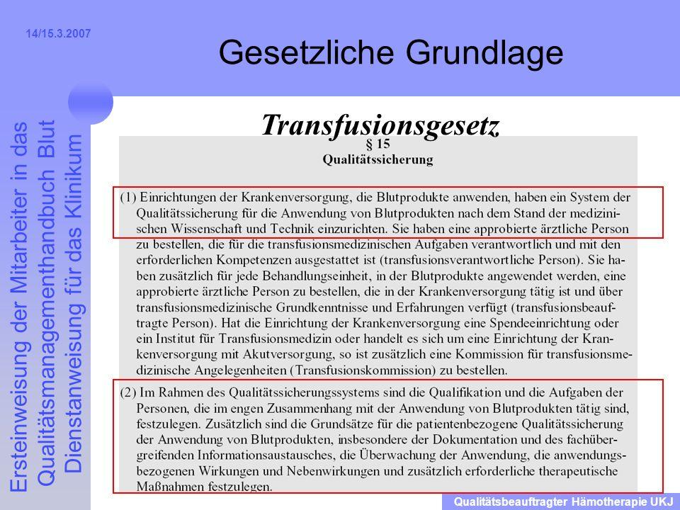 Ersteinweisung der Mitarbeiter in das Qualitätsmanagementhandbuch Blut Dienstanweisung für das Klinikum Qualitätsbeauftragter Hämotherapie UKJ 14/15.3.2007 Gesetzliche Grundlage Transfusionsgesetz