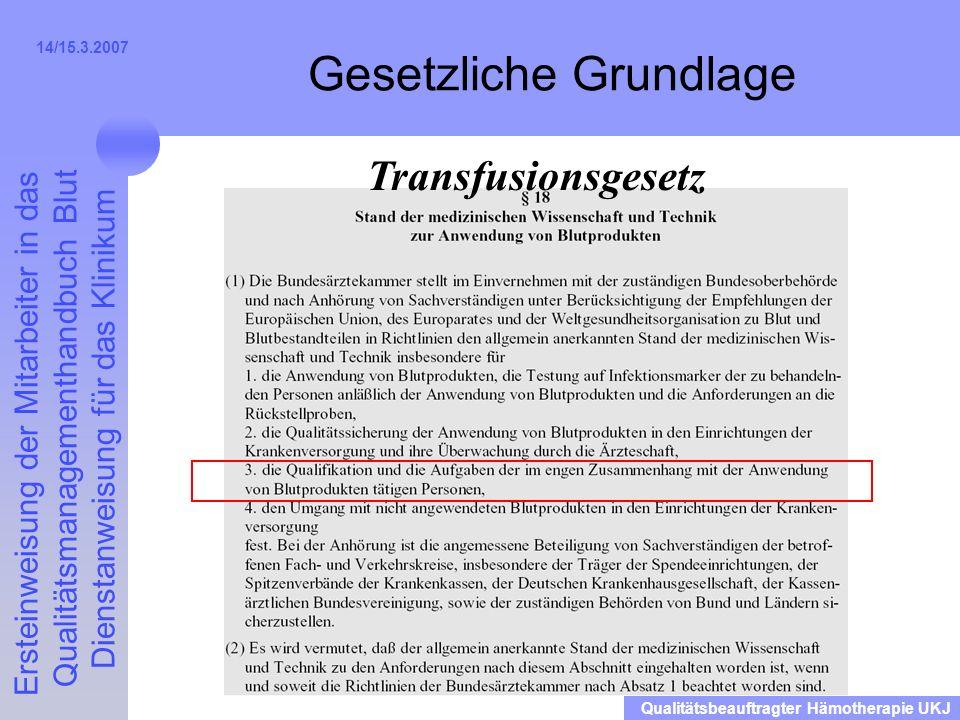 Ersteinweisung der Mitarbeiter in das Qualitätsmanagementhandbuch Blut Dienstanweisung für das Klinikum Qualitätsbeauftragter Hämotherapie UKJ 14/15.3.2007 Festlegung: Wer darf was.