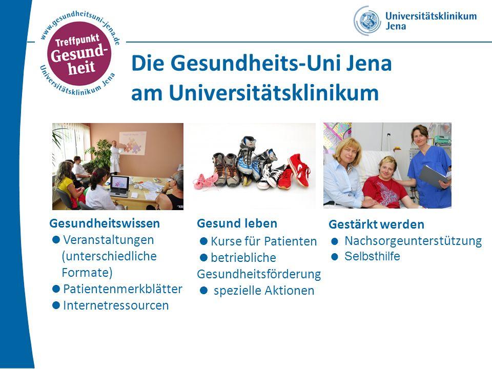 Gesundheitswissen Veranstaltungen (unterschiedliche Formate) Patientenmerkblätter Internetressourcen Gesund leben Kurse für Patienten betriebliche Gesundheitsförderung spezielle Aktionen Gestärkt werden Nachsorgeunterstützung Selbsthilfe Die Gesundheits-Uni Jena am Universitätsklinikum