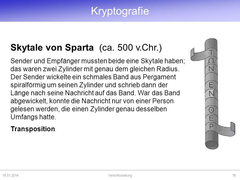18.01.2014Verschlüsselung18 Skytale von Sparta (ca. 500 v.Chr.) Sender und Empfänger mussten beide eine Skytale haben; das waren zwei Zylinder mit gen