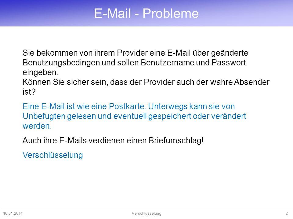 18.01.2014Verschlüsselung2 Sie bekommen von ihrem Provider eine E-Mail über geänderte Benutzungsbedingen und sollen Benutzername und Passwort eingeben