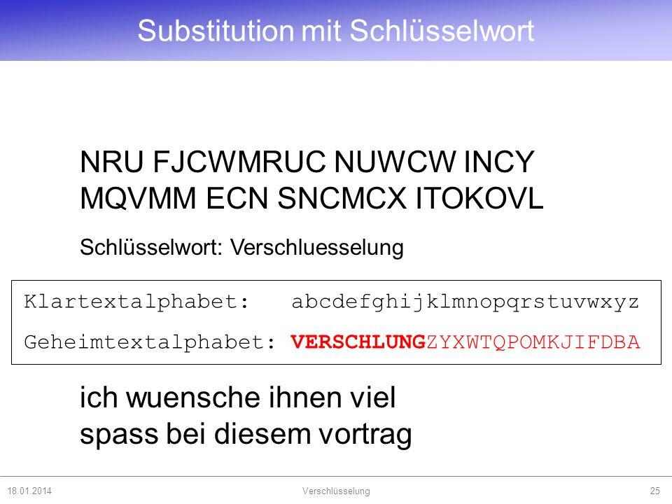 18.01.2014Verschlüsselung25 NRU FJCWMRUC NUWCW INCY MQVMM ECN SNCMCX ITOKOVL Schlüsselwort: Verschluesselung ich wuensche ihnen viel spass bei diesem