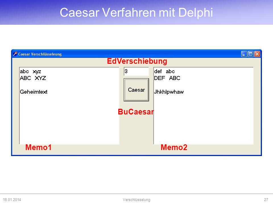 Caesar Verfahren mit Delphi 18.01.2014Verschlüsselung27 Memo1Memo2 BuCaesar EdVerschiebung