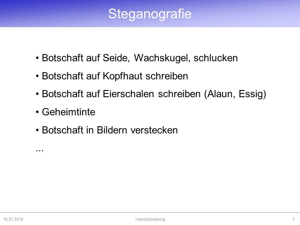 18.01.2014Verschlüsselung8 Steganografie Liebe Kolleginnen.