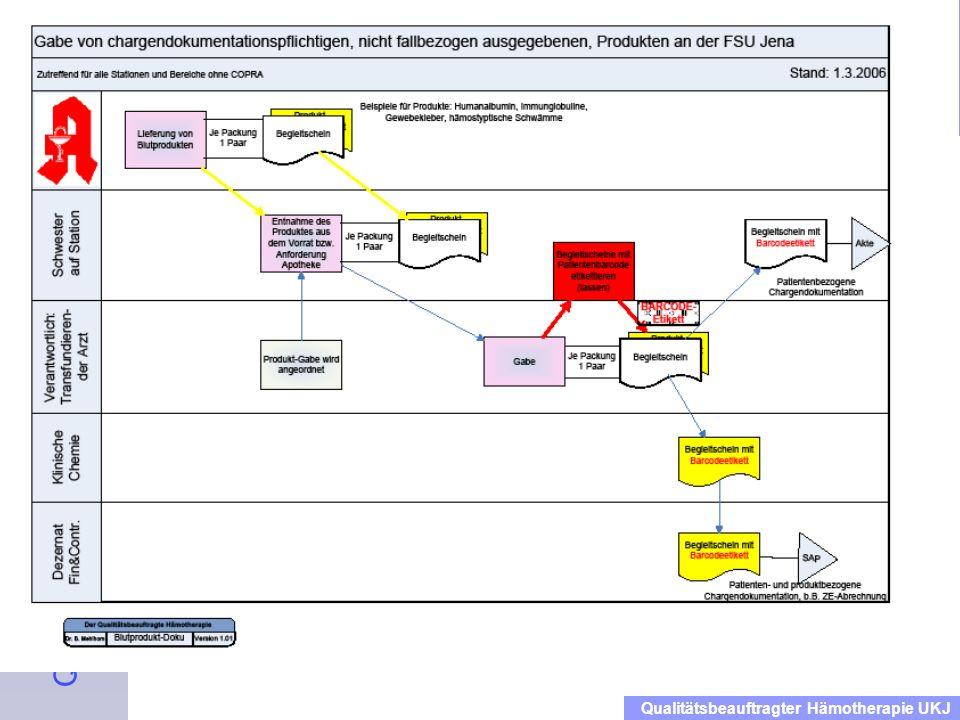 Einweisung der Mitarbeiter in das Qualitätsmanagementhandbuch Blut Dienstanweisung für das Klinikum Qualitätsbeauftragter Hämotherapie UKJ