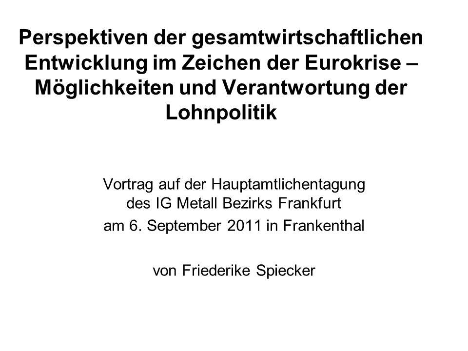 1) Index der gesamtwirtschaftlichen Lohnstückkosten1999 = 100; 2012 - 2020: Deutschland, Südeuropa, Frankreich +1% jährlich.