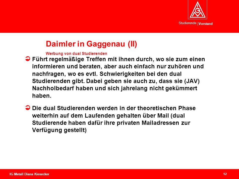 Vorstand Studierende 12 IG Metall Diana Kiesecker Daimler in Gaggenau (II) Werbung von dual Studierenden Führt regelmäßige Treffen mit ihnen durch, wo sie zum einen informieren und beraten, aber auch einfach nur zuhören und nachfragen, wo es evtl.