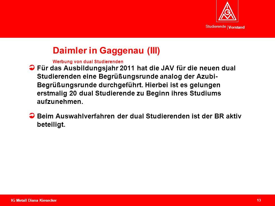 Vorstand Studierende 13 IG Metall Diana Kiesecker Daimler in Gaggenau (III) Werbung von dual Studierenden Für das Ausbildungsjahr 2011 hat die JAV für die neuen dual Studierenden eine Begrüßungsrunde analog der Azubi- Begrüßungsrunde durchgeführt.