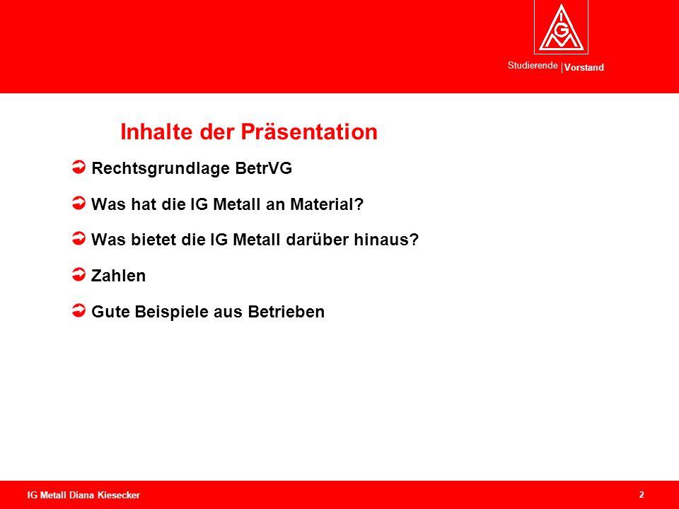 Vorstand Studierende 2 IG Metall Diana Kiesecker Inhalte der Präsentation Rechtsgrundlage BetrVG Was hat die IG Metall an Material.