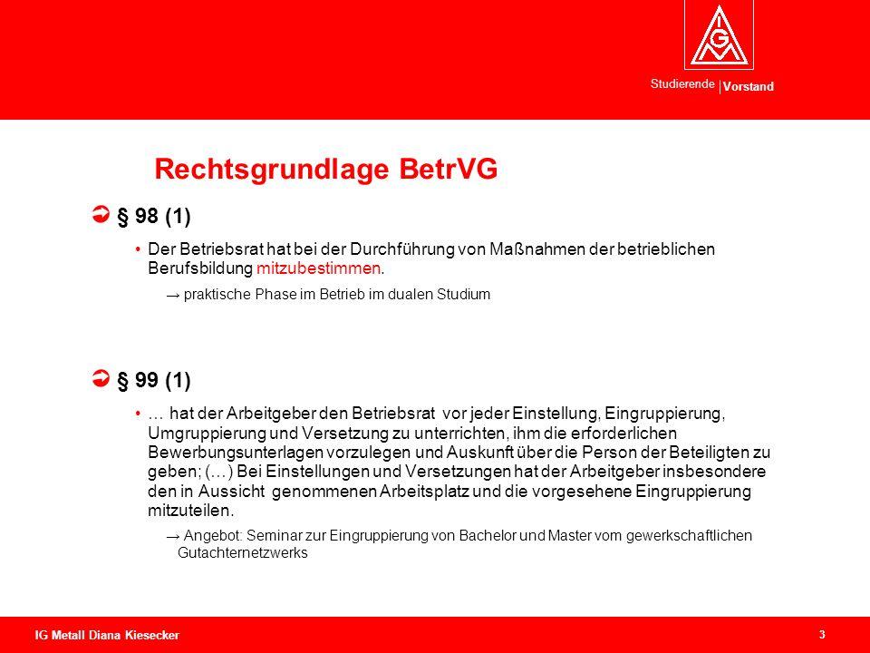 Vorstand Studierende 3 IG Metall Diana Kiesecker Rechtsgrundlage BetrVG § 98 (1) Der Betriebsrat hat bei der Durchführung von Maßnahmen der betrieblichen Berufsbildung mitzubestimmen.