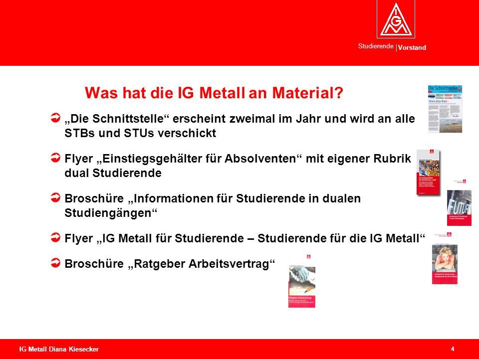 Vorstand Studierende 4 IG Metall Diana Kiesecker Was hat die IG Metall an Material.