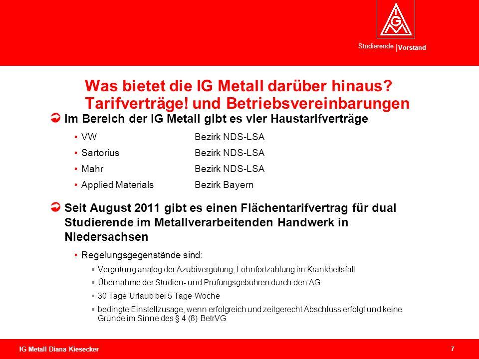Vorstand Studierende 7 IG Metall Diana Kiesecker Was bietet die IG Metall darüber hinaus.