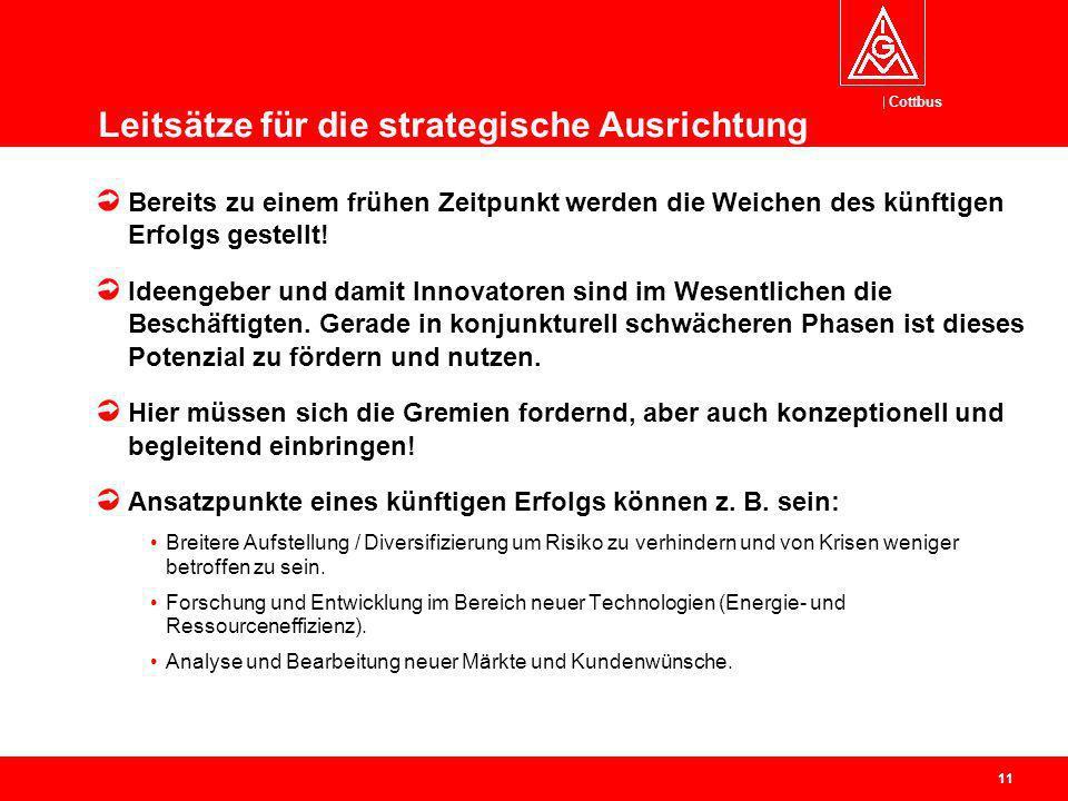 Cottbus 11 Leitsätze für die strategische Ausrichtung Bereits zu einem frühen Zeitpunkt werden die Weichen des künftigen Erfolgs gestellt.