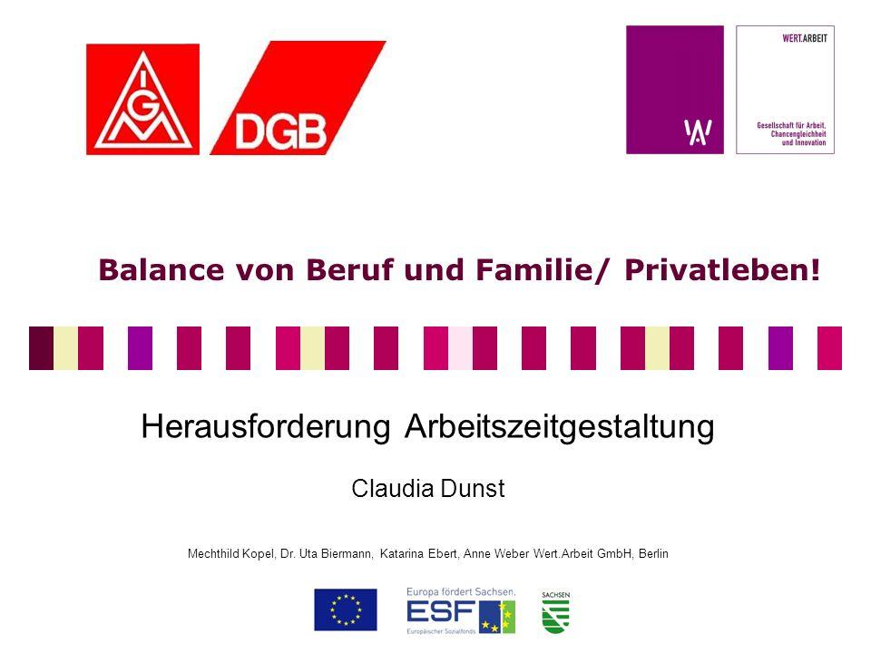 Balance von Beruf und Familie/ Privatleben! Herausforderung Arbeitszeitgestaltung Claudia Dunst Mechthild Kopel, Dr. Uta Biermann, Katarina Ebert, Ann