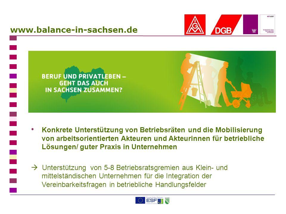 www.balance-in-sachsen.de Konkrete Unterstützung von Betriebsräten und die Mobilisierung von arbeitsorientierten Akteuren und Akteurinnen für betriebl