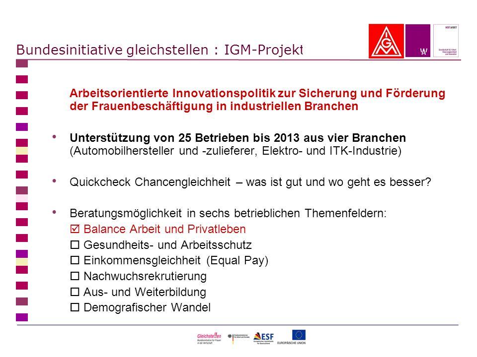 Bundesinitiative gleichstellen : IGM-Projekt Arbeitsorientierte Innovationspolitik zur Sicherung und Förderung der Frauenbeschäftigung in industrielle