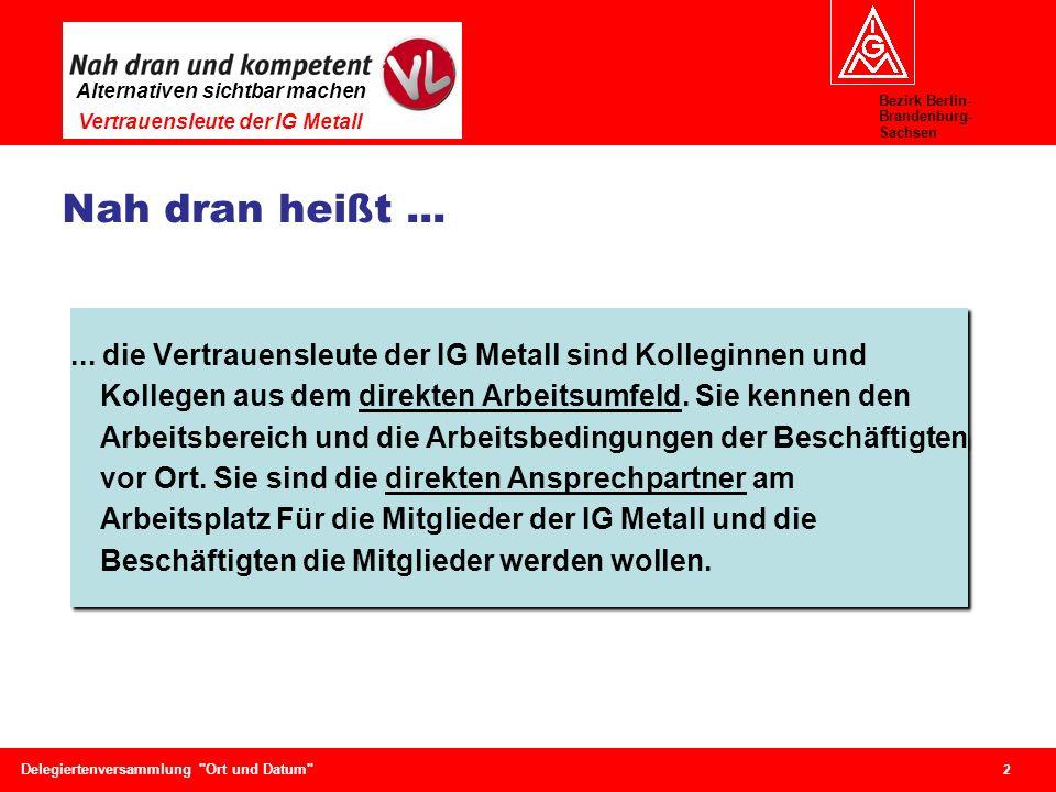 Bezirk Berlin- Brandenburg- Sachsen Alternativen sichtbar machen Vertrauensleute der IG Metall 2 Delegiertenversammlung