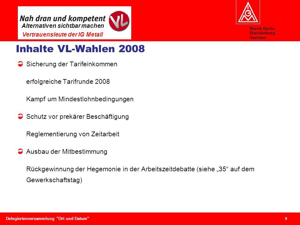 Bezirk Berlin- Brandenburg- Sachsen Alternativen sichtbar machen Vertrauensleute der IG Metall 9 Delegiertenversammlung