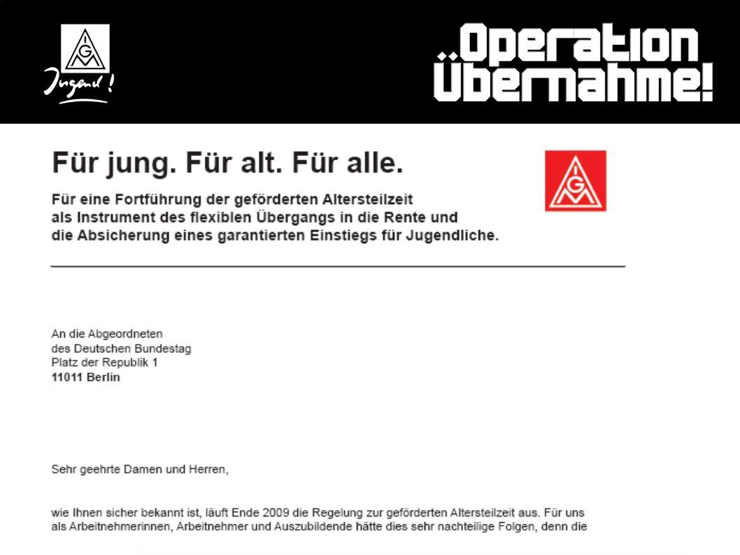 Eure Unterstützung ist jetzt gefragt: Gemeinsamer Brief an die Bundestagsabgeordneten: Im Brief sind die konkreten Forderungen benannt. In vielen Betr