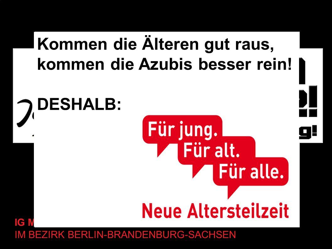 IG METALL-JUGEND IM BEZIRK BERLIN-BRANDENBURG-SACHSEN Kommen die Älteren gut raus, kommen die Azubis besser rein! DESHALB: