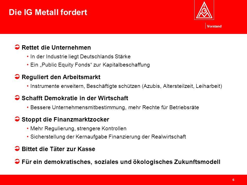 Vorstand 6 Die IG Metall fordert Rettet die Unternehmen In der Industrie liegt Deutschlands Stärke Ein Public Equity Fonds zur Kapitalbeschaffung Regu