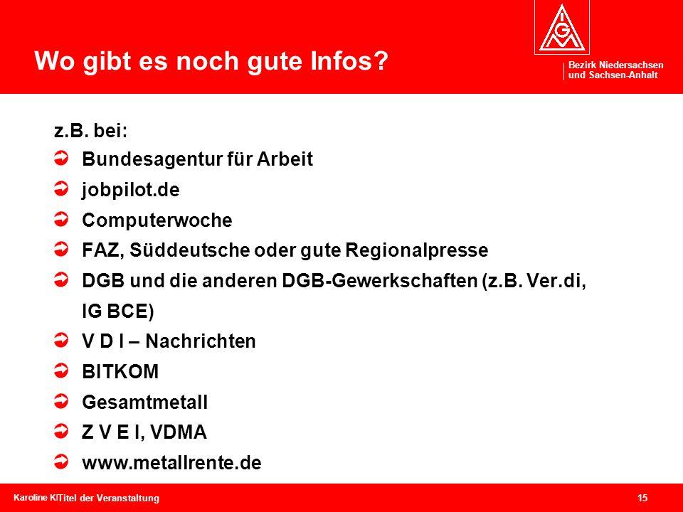 Bezirk Niedersachsen und Sachsen-Anhalt Bezirk Niedersachsen und Sachsen-Anhalt 15 Karoline Kleinschmidtcebit, 04.