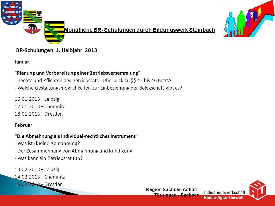 Monatliche BR- Schulungen durch Bildungswerk Steinbach BR-Schulungen 1. Halbjahr 2013 Januar