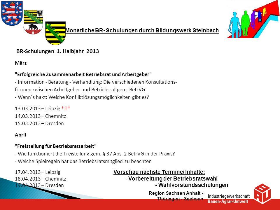 Monatliche BR- Schulungen durch Bildungswerk Steinbach BR-Schulungen 1. Halbjahr 2013 März