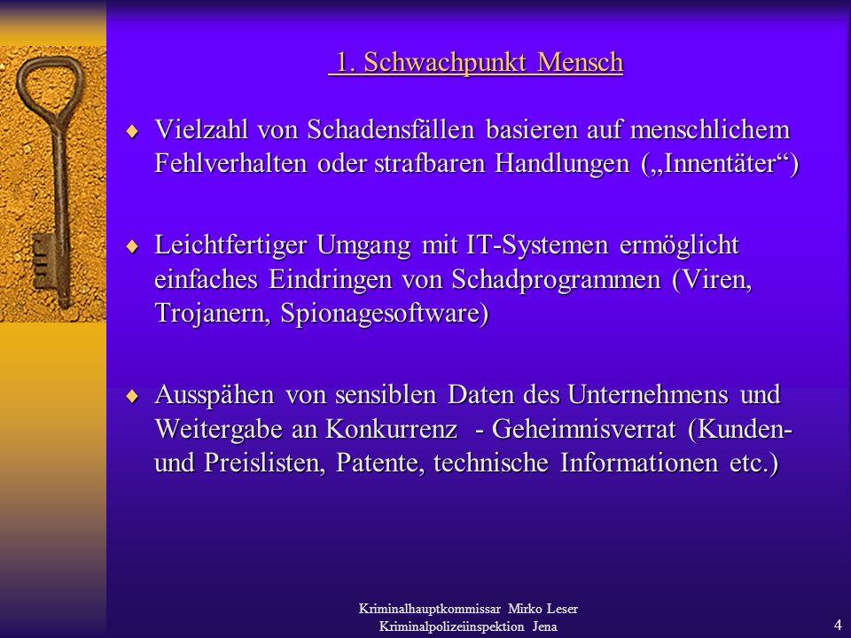 Kriminalhauptkommissar Mirko Leser Kriminalpolizeiinspektion Jena 3 IT-Sicherheit ist Chefsache.