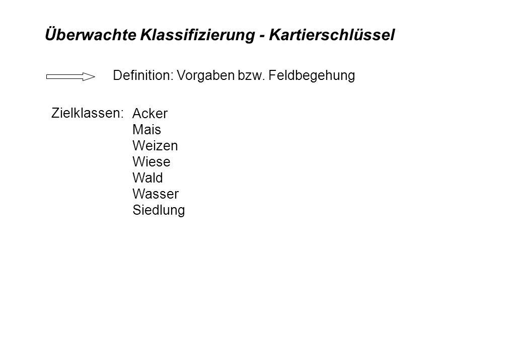 Überwachte Klassifizierung - Kartierschlüssel Zielklassen: Acker Mais Weizen Wiese Wald Wasser Siedlung Definition: Vorgaben bzw. Feldbegehung