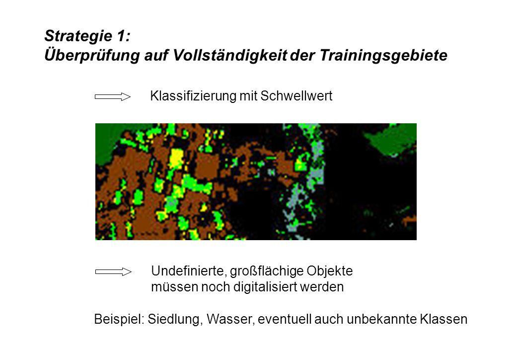 Strategie 1: Überprüfung auf Vollständigkeit der Trainingsgebiete Klassifizierung mit Schwellwert Undefinierte, großflächige Objekte müssen noch digit
